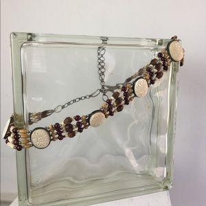 Boho wooden beaded chain style belt tan & brown
